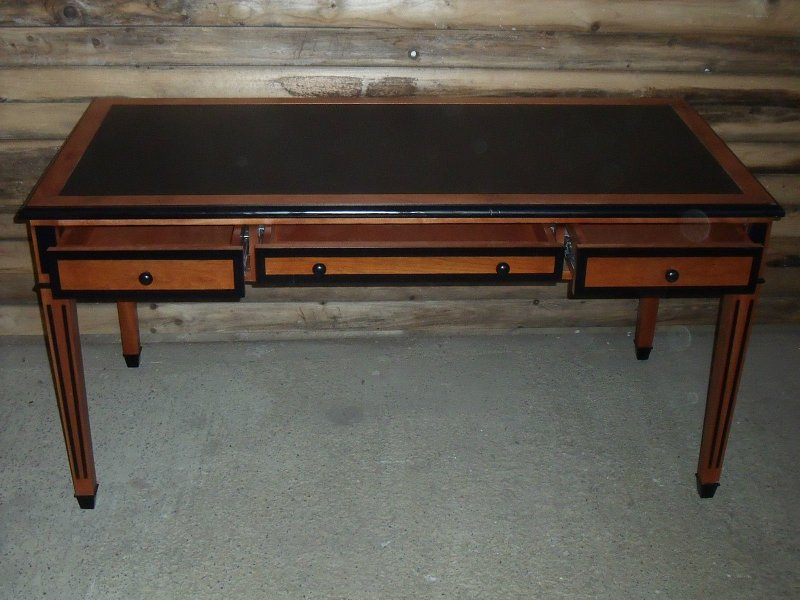 Art deco style cherry bureau plat writing table desk with black leather insert antique for Deco bureau