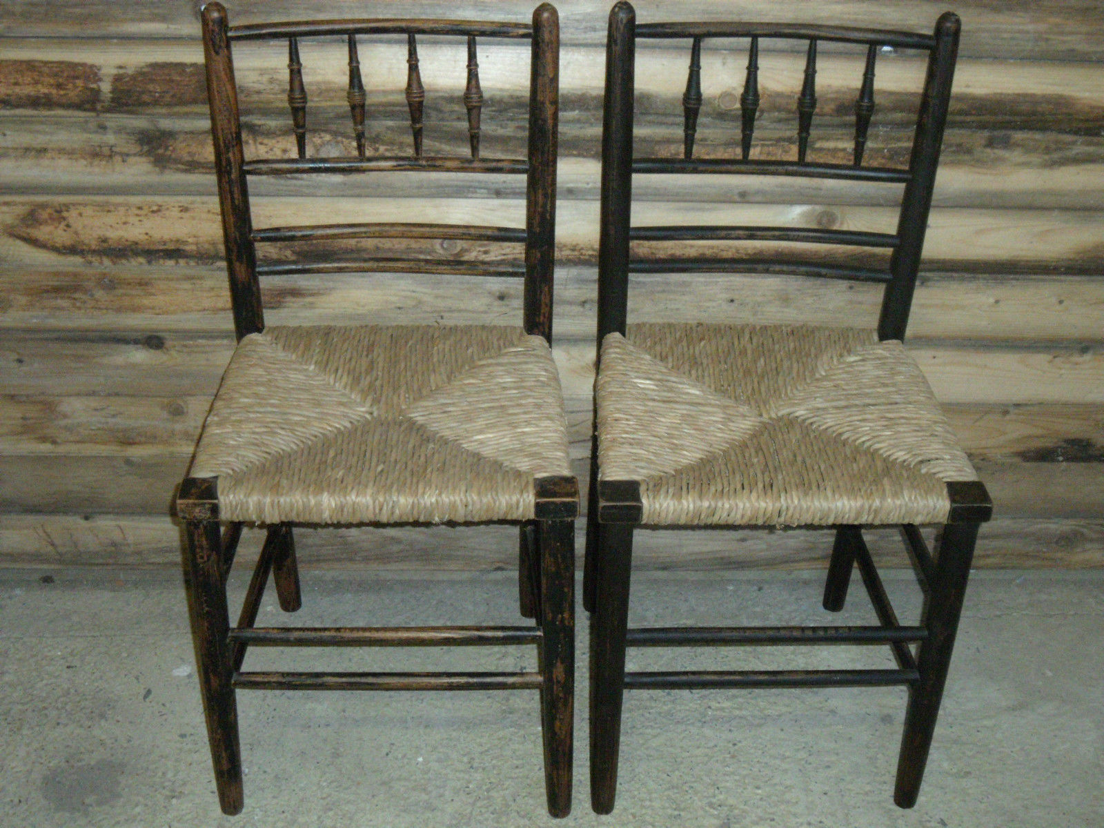 A Pair Of William Morris Style Elm Japanned Chairs With Rush Seats - William morris chairs