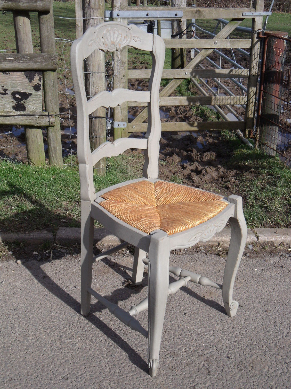 Set 6 French Painted Oak Provencal Ladderback Chairs Rush